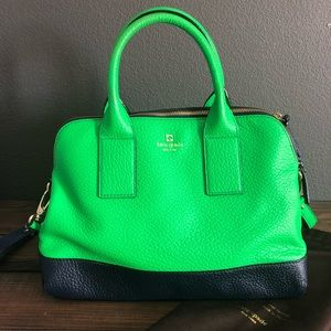 Kate Spade Navy/Green Leather Satchel